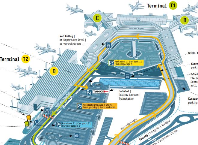 aankomst keulen airport plattegrond map
