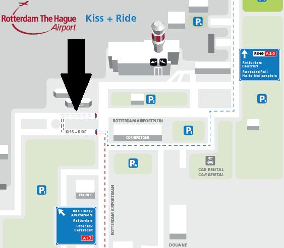 aankomst rotterdam airport kiss & ride
